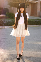 cat ear beanie H&M hat - polite Brashy Couture t-shirt - tulle Chicwish skirt