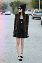 beaded sleeve lulus blazer - Ebay necklace - black skater romwe skirt