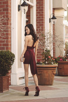 LuLus dress - LuLus purse - LuLus bracelet - burgundy caged LuLus heels