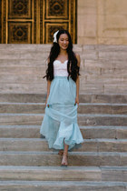 light blue maxi Chicwish skirt - eyelet bustier Forever 21 intimate