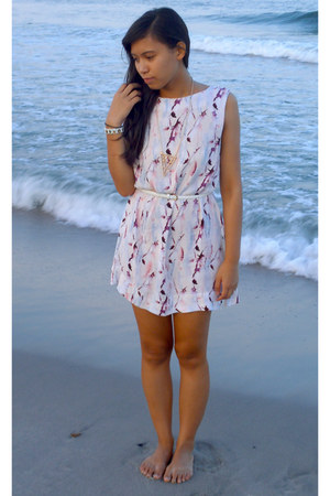 light pink Shop Koshka dress - white Forever21 belt