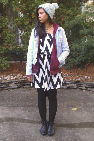 sky blue denim jacket Old Navy jacket - black chevron StyleGirl dress