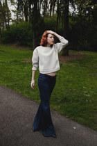 blue bell-bottom Gap jeans - off white sculptural Zara shirt