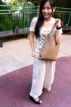 bronze Code Mode bag - black MDS wedges - off white linen somewhere in far east