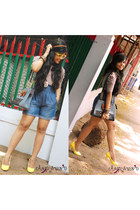 navy high waisted Only shorts - camel Vero Moda blouse - dark brown Zara accesso