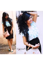 light pink satchel bangkok bag - light blue ruffles bangkok blouse - black high