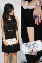 black silver bib Zara dress - silver bow papaya bag - off white pearls Accessori
