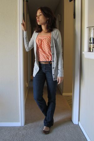 orange shirt - blue jeans - silver cardigan - brown shoes - brown belt