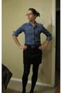 Blue-shirt-dark-brown-skirt-black-tights