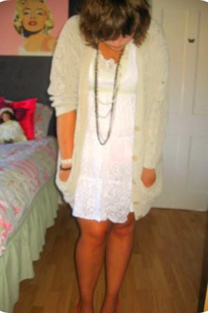 white yumi dress - beige vintage cardigan