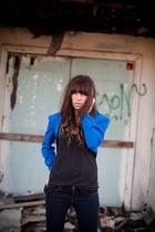 black Forever21 top - JBrand jeans - blue vintage jacket