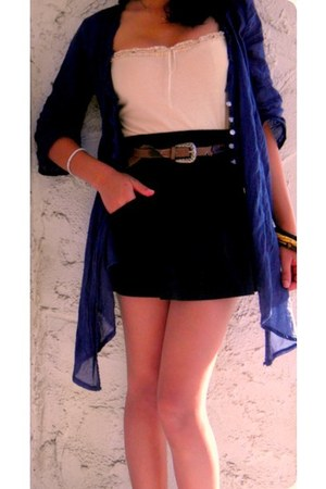 blue Foriegn Brand cardigan - black kirra skirt - brown belt - beige Gap scarf