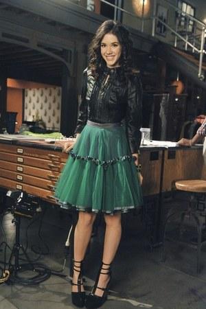 teal poofy skirt - black leather jacket - black wedges
