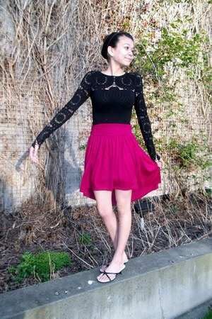 magenta high-low skirt Forever 21 skirt - black body con dress poof dress