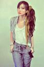 Silver-blouse-white-shirt-mustard-scarf-heather-gray-pants