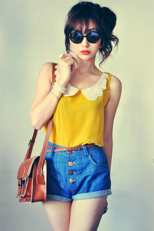 crimson bag - mustard shirt - eggshell shirt - navy shorts - black sunglasses