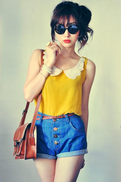 crimson bag - mustard shirt - eggshell shirt - navy shorts - black sunglasses