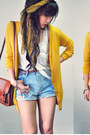 Light-blue-shorts-mustard-cardigan-off-white-top-maroon-wedges