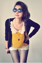 mustard shirt - off white shorts - black cardigan