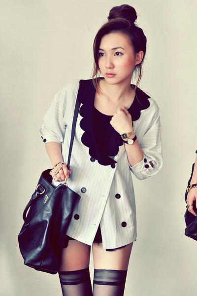 white shirt - black bag - gold bag