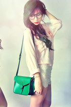 beige shorts - dark green bag - ruby red accessories - light pink blouse