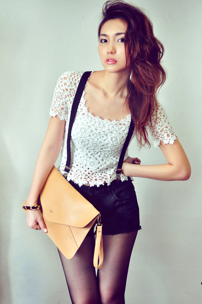 mustard bag - black shorts - white top - crimson wedges