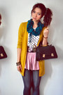 Mustard-cardigan-teal-scarf-white-shirt-light-pink-skirt-gray-stockings