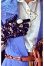 Violet-blazer-mustard-skirt-cream-shirt-burnt-orange-belt-dark-brown-bag