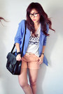 Sky-blue-blazer-ivory-shirt-peach-shorts