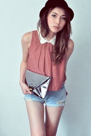 silver bag - sky blue shorts - off white blouse - coral blouse