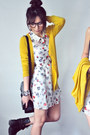 Salmon-dress-ivory-dress-mustard-cardigan