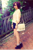 off white bag - black shorts - crimson socks - peach blouse