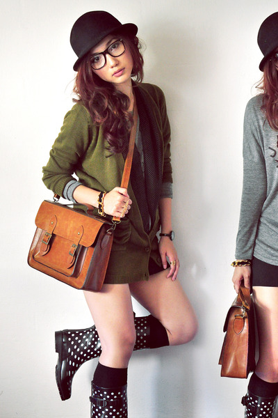 brown bag - black boots - charcoal gray shirt - army green cardigan