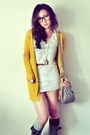 Black-boots-white-dress-silver-bag-dark-brown-belt-mustard-cardigan