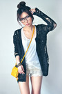 Mustard-bag-ivory-shorts-black-cardigan