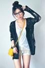 Mustard-bag-ivory-shorts-black-cardigan