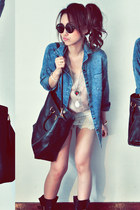 sky blue jacket - black bag - off white shorts - light pink top