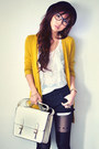 White-shirt-off-white-bag-black-shorts-mustard-cardigan