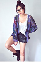 deep purple cardigan - white shirt - black shorts