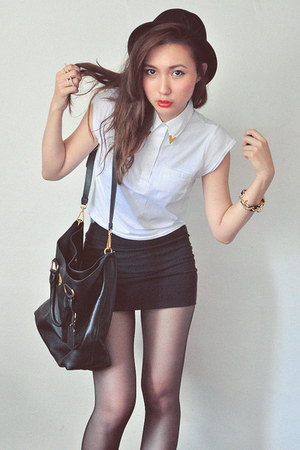white top - black skirt