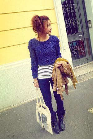 eggshell bag - brown coat - navy sweater - white shirt - mustard scarf