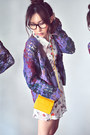 Coral-dress-white-dress-mustard-bag-deep-purple-cardigan