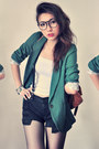 Teal-blazer-white-shirt-bronze-bag-black-shorts