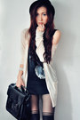 Charcoal-gray-shirt-beige-cardigan-black-skirt