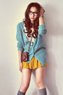 Ivory-shirt-dark-brown-bag-heather-gray-socks-mustard-skirt-turquoise-bl