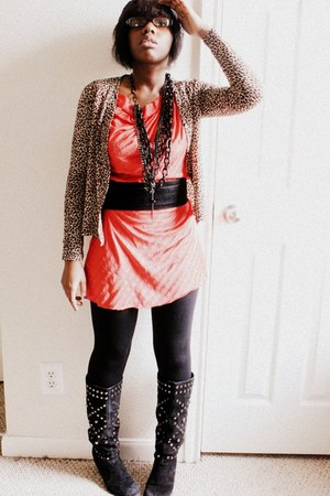 black thrifted vintage boots - carrot orange thrifted vintage dress - black Targ