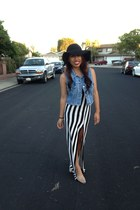 white Poetry skirt - off white shoes - black Aeropostale hat - navy vintage vest