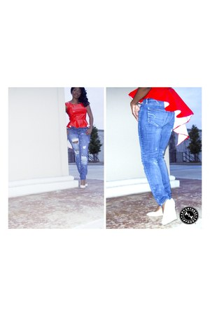 red vinyl Self Made top - denim American Eagle jeans - suede Express wedges