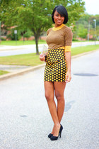 gold modcloth skirt - gold H&M shirt