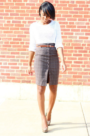 light brown Forever 21 skirt - white H&M sweater